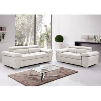 An Image of Amando Fabric 2 Seater And 3 Seater Sofa Suite In Beige
