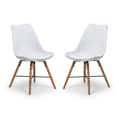 An Image of Kari Dining Chair In Pair With White Seat And Oak Legs