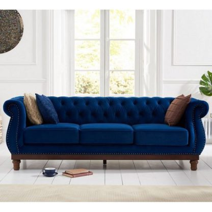 An Image of Ruskin 3 Seater Sofa In Blue Plush With Dark Ash Legs