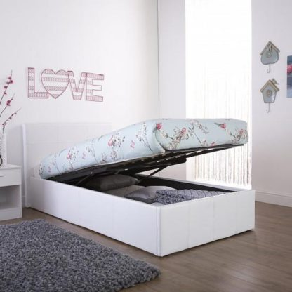 An Image of End Lift Ottoman Faux Leather Small Double Bed In White