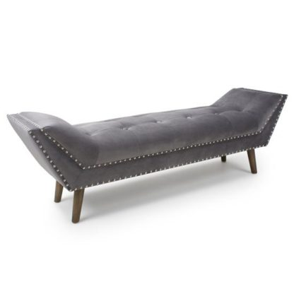 An Image of Montrose Large Brushed Velvet Chaise In Grey With Wooden Feet