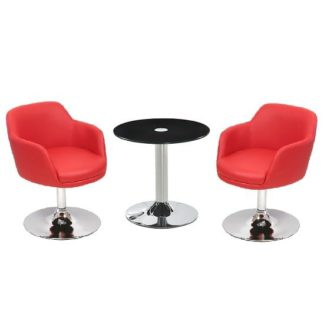 An Image of Belize Glass Bistro Table In Black With 2 Bucketeer Red Chairs