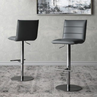 An Image of Riva Grey Faux Leather Bar Stools In Pair