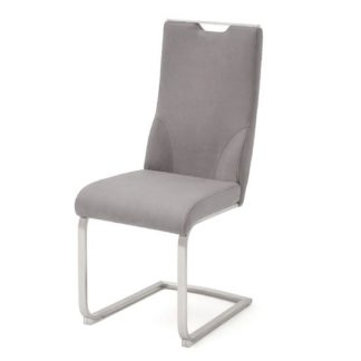 An Image of Jiulia Cantilever Dining Chair In Ice Grey
