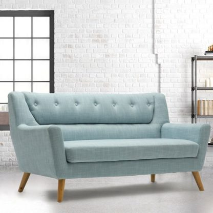 An Image of Stanwell 3 Seater Sofa In Duck Egg Blue Fabric With Wooden Legs