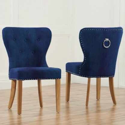 An Image of Chason Blue Plush Studded Dining Chair In Pair