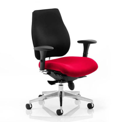 An Image of Chiro Plus Black Back Office Chair With Bergamot Cherry Seat
