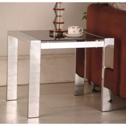 An Image of Naxis Lamp Side Table In Black And Chrome