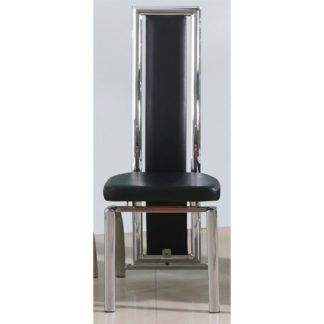 An Image of Chicago Dining Chair In Black Faux Leather With Chrome Legs