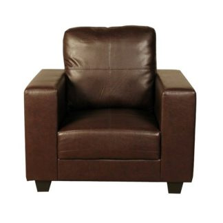 An Image of Queensland Sofa Chair In Brown Faux Leather