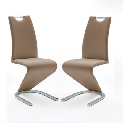 An Image of Amado Z Cappuccino Faux Leather Dining Chair In A Pair