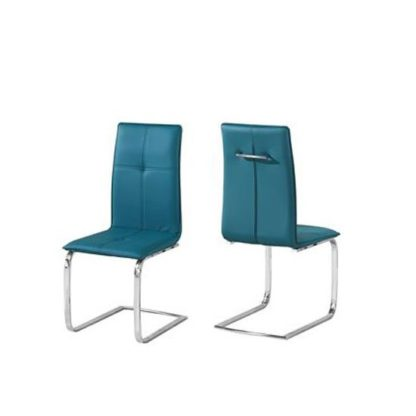 An Image of Foster Dining Chair In Teal Faux Leather In A Pair