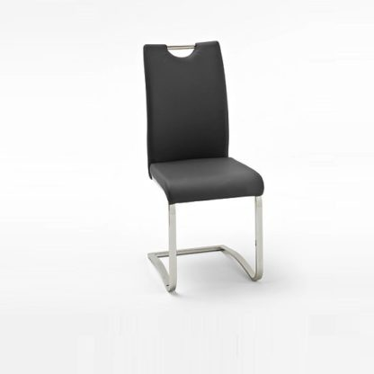 An Image of Koln Dining Chair In Black Faux Leather With Chrome Legs