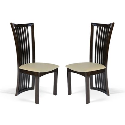 An Image of Gacrux Brown Wooden Dining Chair In Pair
