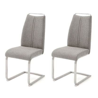 An Image of Giulia Ice Grey Fabric Cantilever Dining Chair In A Pair