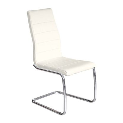 An Image of Svenska White PU Leather Dining Chair With Chrome Legs