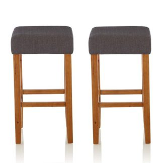 An Image of Newark Bar Stools In Dark Grey Fabric And Oak Legs In A Pair