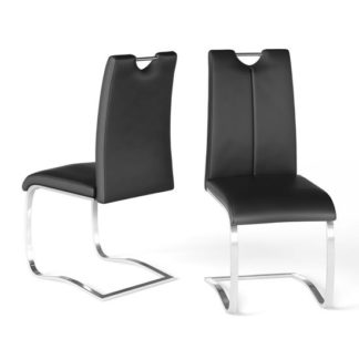 An Image of Gabi Black Faux Leather Dining Chair In A Pair