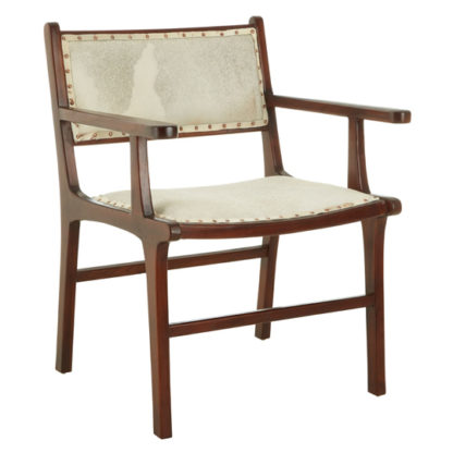 An Image of Formosa Leather Teak Wood Dining Chair In Brown