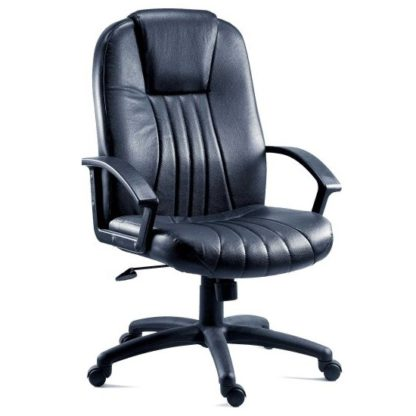An Image of Cromer Home Office Chair In Black Faux Leather With Castors