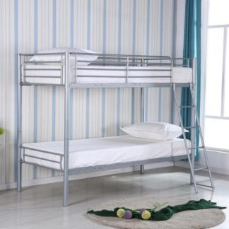 An Image of Himley Metal Bunk Bed In Silver