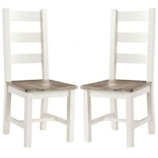 An Image of Alaya Ladderback Style Dining Chair In Stone White