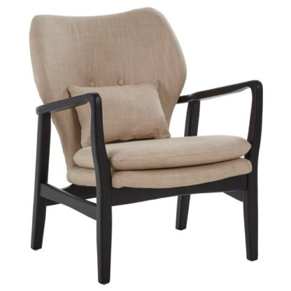 An Image of Porrima Lounge Chair In Beige With Black Wooden Frame