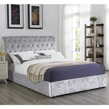 An Image of Casablanca Crushed Velvet Storage Double Bed In Grey
