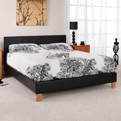 An Image of Tivoli Black Faux Leather Super King Size Bed
