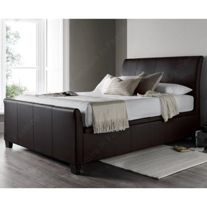 An Image of Madea Ottoman Storage Super King Bed In Brown Bonded Leather