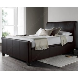 An Image of Madea Ottoman Storage Double Bed In Brown Bonded Leather