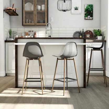 An Image of Copley Plastic Bar Stool In Grey