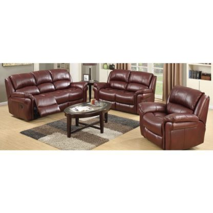 An Image of Lerna Leather 3 Seater Sofa And 2 Armchairs Suite In Burgundy