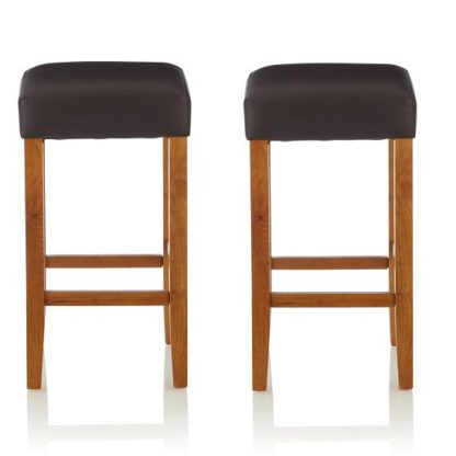 An Image of Newark Bar Stools In Brown PU And Oak Legs In A Pair