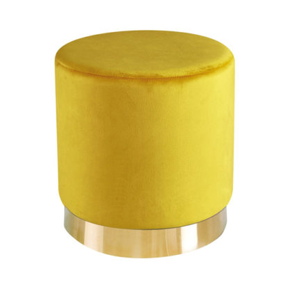 An Image of Lara Velvet Pouffe In Yellow