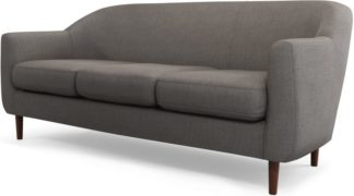 An Image of Custom MADE Tubby 3 Seater Sofa, Pewter Grey with Dark Wood Legs