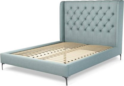 An Image of Custom MADE Romare King Size Bed, Sea Green Cotton with Nickel Legs