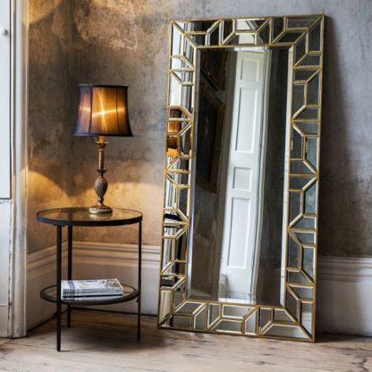 An Image of Dresden Leaner Floor Mirror Rectangular In Painted Gold