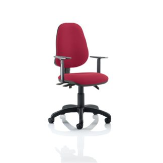 An Image of Redmon Fabric Office Chair In Wine With Height Adjustable Arms