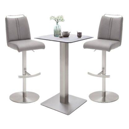 An Image of Soho Glass Bar Table With 2 Giulia Ice Grey Stools