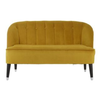 An Image of Cocibolca Velvet Upholstered Two Seater Sofa In Yellow Finish