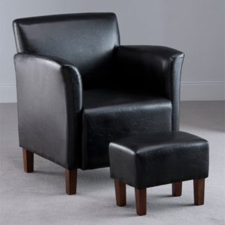An Image of Berkley Black Faux Leather Armchair with Footstool