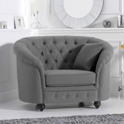 An Image of Astoria Sofa Chair In Grey Linen Fabric With Wooden Legs
