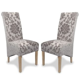 An Image of Arora Dining Chair In Mink Fabric With Oak Legs In A Pair