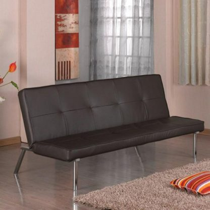 An Image of Seattle Faux Leather Sofa Bed In Brown