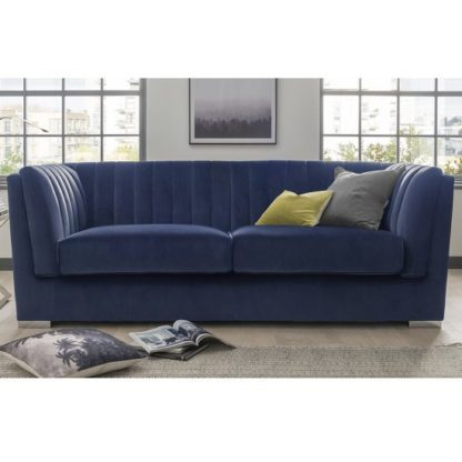 An Image of Flores Fabric 3 Seater Sofa In Blue Velvet With Chrome Legs