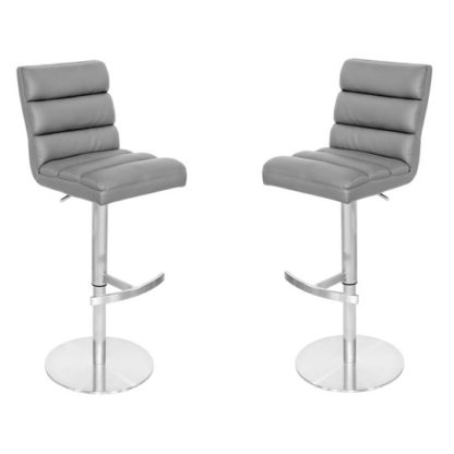 An Image of Bianca Grey Leather Bar Stool In Pair