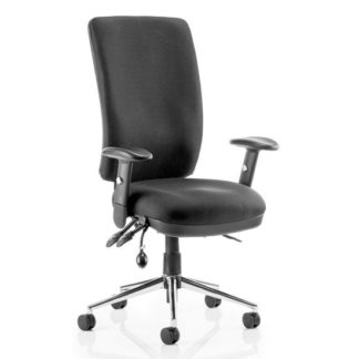 An Image of Chiro Fabric High Back Office Chair In Black With Arms