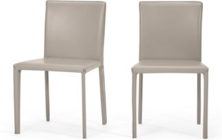 An Image of Calcott Set of 2 Dining Chairs, Putty Grey PVC