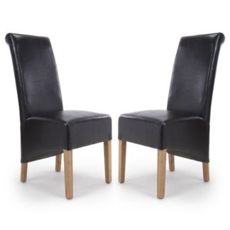 An Image of Krista Black Bonded Leather Dining Chair In A Pair